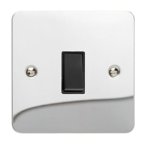 Varilight XFCBPB Ultraflat Polished Chrome 1 Gang 10A Retractive Light Switch